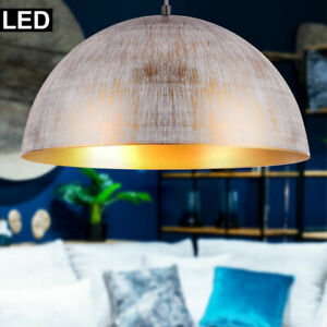 Design-Hange-LED-Leuchte-Weis-Gold-patiniert-Ess-Zimmer-Beleuchtung-Decken-Lampe