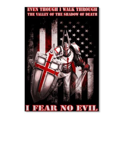 Knights Templar Crusader Warrior Even Though I Walk Through Sticker Portrait