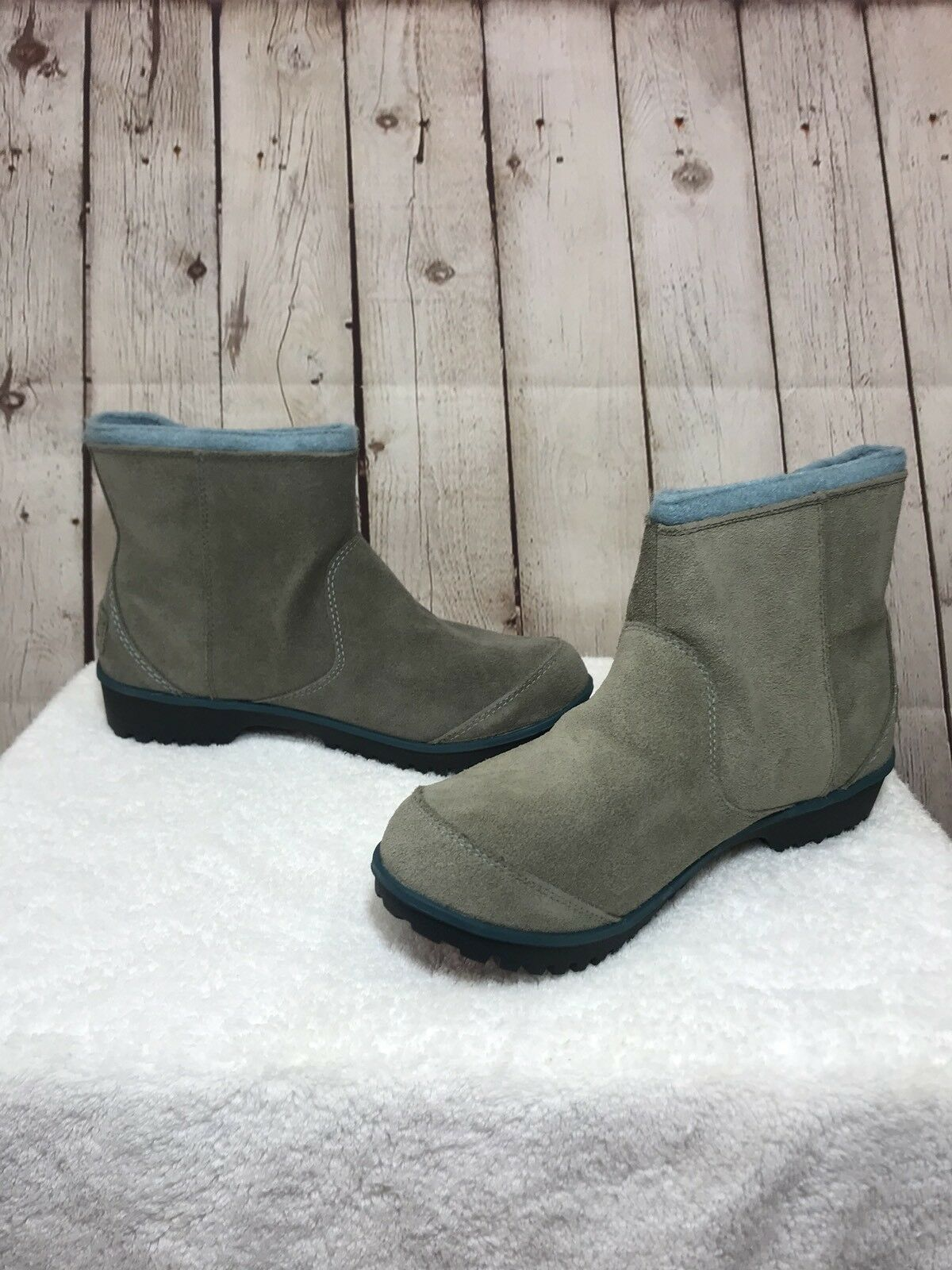 Sorel Meadow Waterproof Boot Stone Lined Mud Blue Gray Suede Lined Stone Ankle Boot Size 8 b7aec2