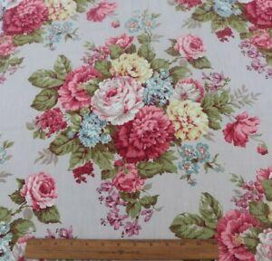 Pretty-Vintage-Big-Bouquet-Roses-amp-Florals-Barkcloth-Fabric-c1940-L-22-034-X-W-32-034
