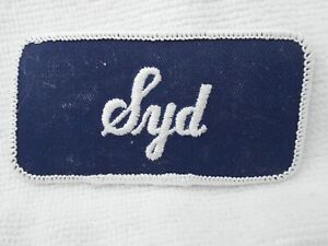 SID  NEW EMBROIDERED  SEW IRON ON NAME PATCH BLUE ON WHITE