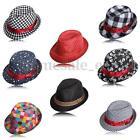 Kid Boy Girl Fashion Canvas Flat Top Fedora Cap Sun Hat Blues Jazz Dance 9 Style