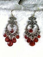 Red Faceted Teardrop Earrings Beads & Crystals Antiqued Goltdone Dangles Avon