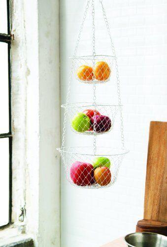 Fox Run 3 Tier Hanging Fruit Vegetable Kitchen Storage Basket