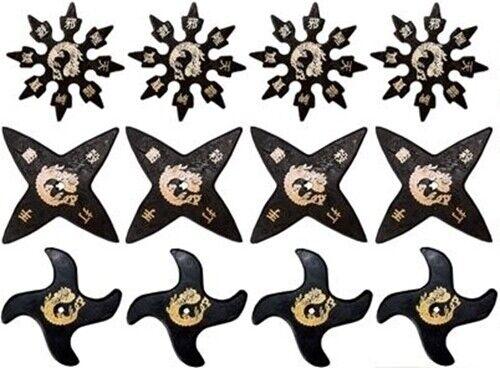 SET of 12 Ninja Martial Arts Rubber Foam Throwing Stars Practice Shuriken