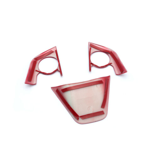 3Pcs Red Steering Wheel Decoration Cover Trims For Toyota Camry 2018 2019 2020