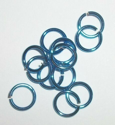 50 Jump Rings 8mm electro coated Brass jewelry finding open jumprings 18g Blue