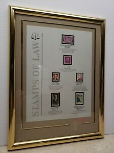 """Vintage Stamps of Law 16""""x12 Framed 1989 Texas Stamps Limited Edition 3989/10000"""