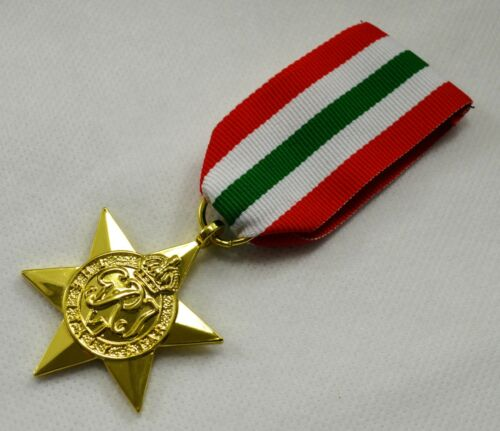 24ct Gold World War 2 Replica Service//Campaign Medal ITALY STAR Commonwealth WW2