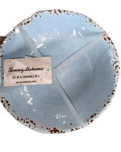 "Tommy Bahama Melamine Turquoise Rustic Edge CEREAL SALAD BOWL. SET of 4.  7"""