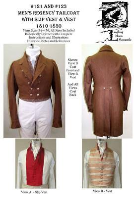 Men/'s Georgian Dress Coat Cutaway Tailcoat 1795-1810 Sewing Pattern #124 Lmm124