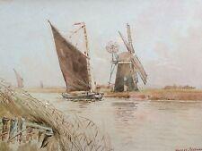 Original Watercolour by W Leslie RACKHAM raffigurante un wherry a reedham Mill