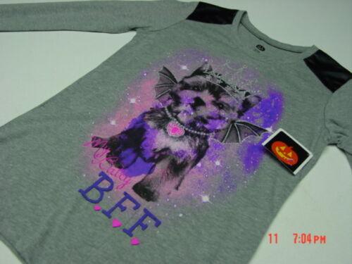 NWT Girls Gray Novelty Shirt  Top Dog Puppy Princess Batty BFF Glitter Pink Purp
