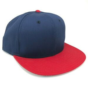 NEW-Vintage-Blank-DeLong-Snapback-Hat-Cap-Navy-Blue-Red-Adult-Size-Made-in-USA