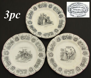 """Set of 3 Antique French Creil Faience 8"""" Cabinet Plates, Romanic Themed Figural"""