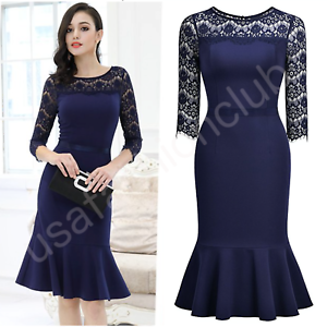 afdf5c48b8 Women s New Vintage Lace Formal Cocktail Evening Party Work Mermaid ...