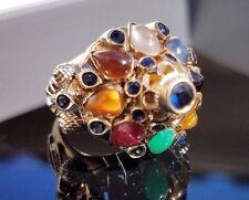 Vintage Harem Dome Sapphire Multi gemstone 18k yellow gold ring