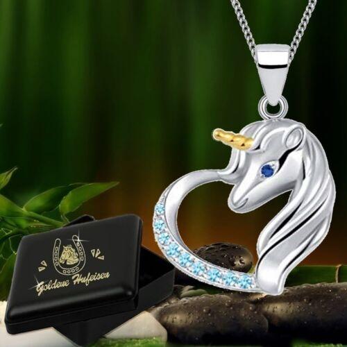 Corazón unicornio remolque con collar 925 real Sterling plata Niñas Señora caballo