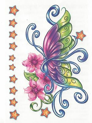 BUTTERFLY COLORFUL FLOWERS AND STARS Temporary Tattoo