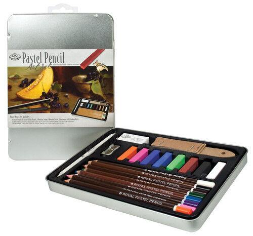 PASTEL PENCILS & STICKS ARTIST TIN SET SAND BLOCK & BLENDING STUMP RSET-ART2308
