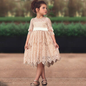 Vintage Toddler Baby Kid Lace Dress For Wedding Pageant Flower Girl