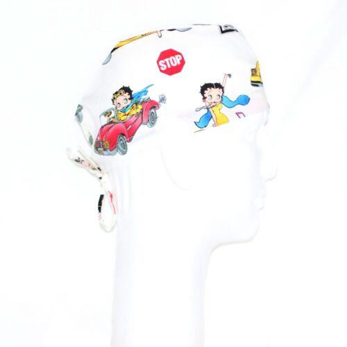 Betty Boop Driving Vintage Car Theme Scrub Hat