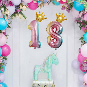 Number-Balloons-Giant-Foil-Balloon-Gold-Crown-Birthday-Wedding-Party-32-Inch-UK