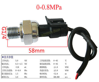 "G1/4"" inch 5V 0-0.8 MPa Pressure Transducer Sensor Oil Fuel Diesel Gas Water Air"