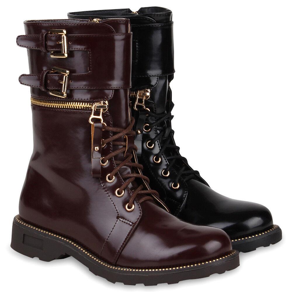 Damen Stiefeletten Lack Worker Boots Schnürstiefel Zipper 73522 Hot