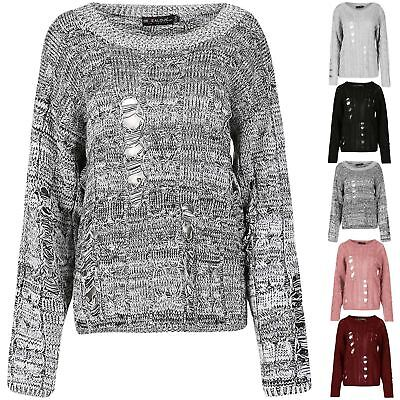Womens Ladies Oversize Chunky Knitted Distress Destroyed Ripped Jumper Baggy Top