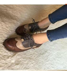official shop closer at release info on Details about Womens Leather Flat Low Heels Brogues Wingtip Lace Up Dress  Shoes Oxfords 2019