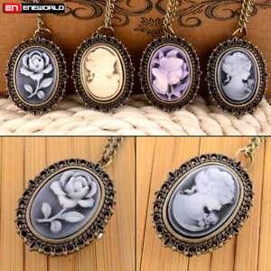 Vintage-Bronze-Rose-Beauty-Pocket-Watch-Quartz-Necklace-Chain-Pendant-Steampunk