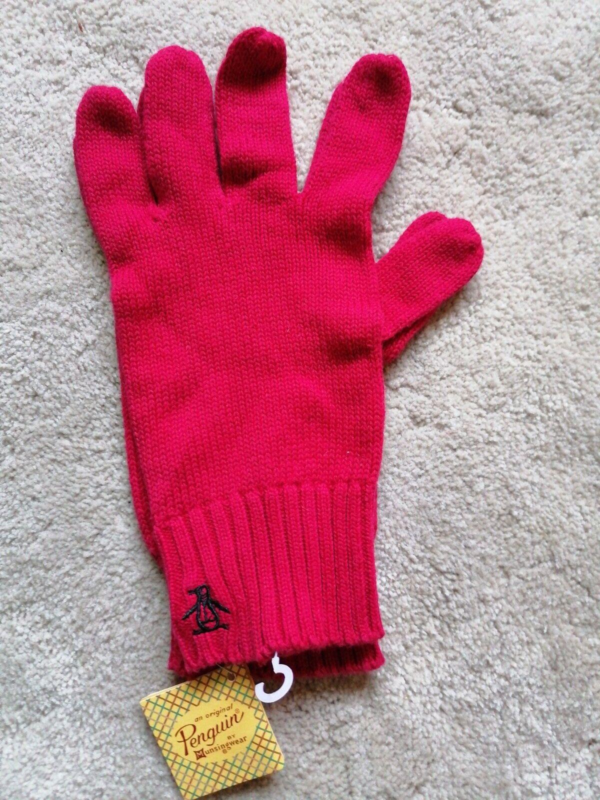 BNWT - ORIGINAL PENGUIN Knitted Winter unisex Gloves - Red
