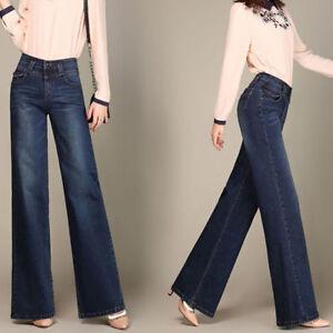 bebb37010a Details about Donna Gamba Larga Jeans a zampa svasati jeans pantaloni  palazzo vita alta blu