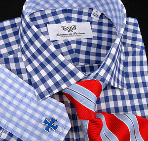 Mens-Blue-Formal-Business-Dress-Shirt-Top-10-Gingham-Checkered-Stylish-Fashion