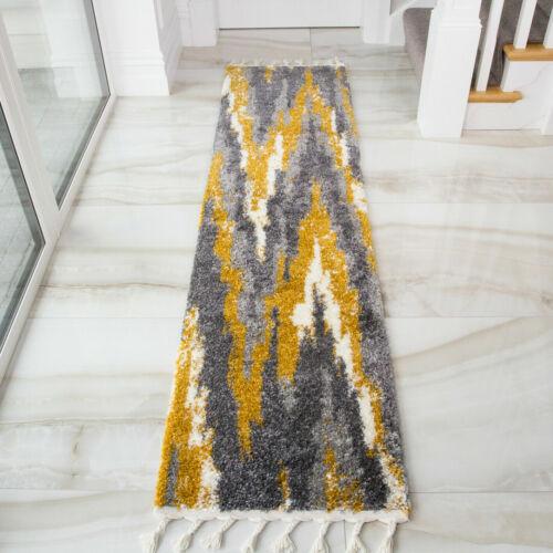 Vintage Modern Mustard Yellow /& Grey Deep Non Shed Tribal Geometric Scandi Rugs