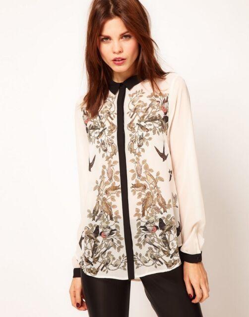 New Chiffon Top Fashion Print Long Sleeve Shirt Blouse 76942 Size L M S