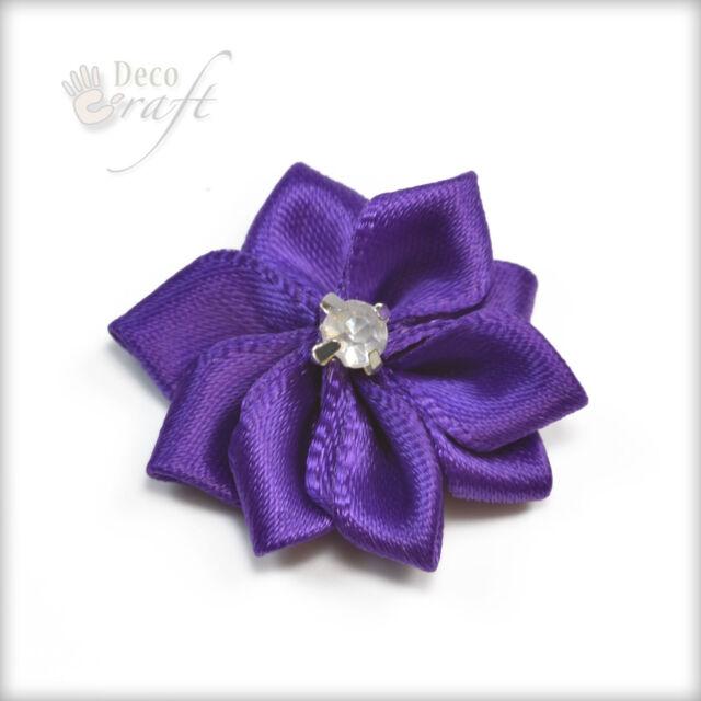 Satin Ribbon Flower Rose Embellishments Crafts Card Scrapbooking Sewing Making