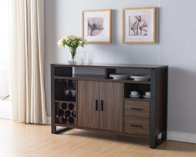 Charmant 161640 Smart Home Dark Walnut U0026 Black Wine Bar Sideboard Buffet Table
