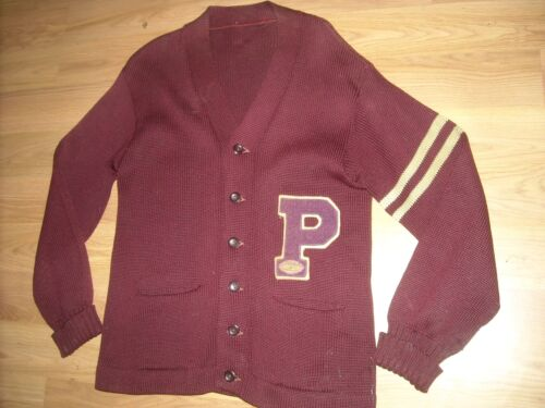 VTG 50S MENS RED SMALL P WOOL BUTTON CARDIGAN LETT