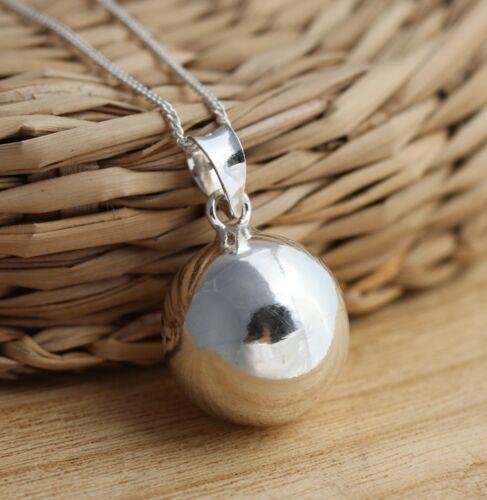 Plata esterlina 925 16mm Collar Colgante Llano Grande Joyería encanto de la bola