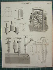 1820 DATED ANTIQUE PRINT ~ HYDRAULICS TANTALUS'S CUP CHAIN PUMP PERSIAN WHEEL