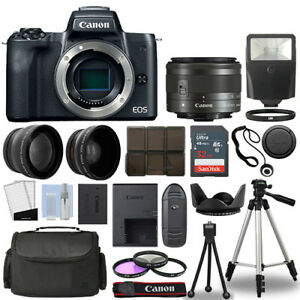 Canon-EOS-M50-Camera-Body-Black-3-Lens-Kit-15-45mm-IS-STM-32GB-Flash-amp-More