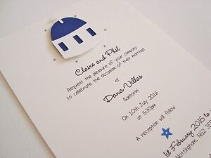 Image Is Loading Personalised Handmade Santorini Greek Themed Wedding Invitation Sample
