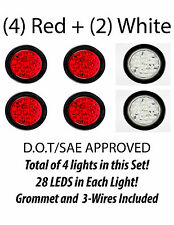 """4"""" Inch Red 28 LED Round Stop Turn Tail Backup Truck Light Kit - 4 Red & 2 White"""