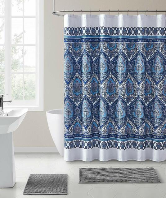 Vcny Fabric Shower Curtain Fl Damask With Geometric Border Design Blue