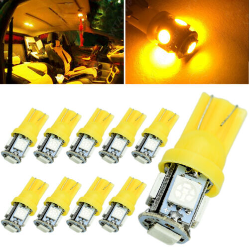 10X Amber//Yellow T10 5050 LED Dome Map INTERIOR Light Bulbs W5W 158 192 168 194