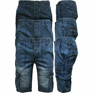 Mens-Casual-Denim-Regular-Fit-Combats-Cargo-Shorts-3-4-Knee-Length-Pants-30-42