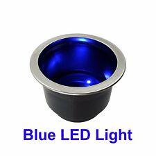 NEW BLUE LED LIGHT MARINE BOAT RV CAMPER CUP DRINK HOLDER LIGHTS UP BLUE W DRAIN