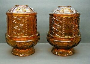 Vintage-Indiana-Glass-1188BD-Pair-Of-Stars-and-Bars-Amber-Pair-Fairy-Lamps